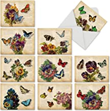 10 Note Cards w/Envelopes - Assorted 'Fluttering Words' Blank Greeting Cards - Perfect All-Occasion Cards for Birthday, Mother's Day, Thank You - Stationery Notecards 4 x 5.12 inch M6477OCB