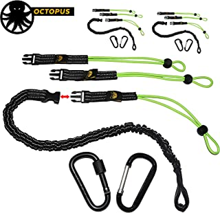 KwikSafety (Charlotte, NC) OCTOPUS (3 PACK) Heavy Duty Tool Lanyard with Carabiners (Twist Lock & Clip) Coiled Retractable Bungee Chord Detachable Interchangeable Buckle Straps Adjustable Clip Locks