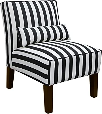 Skyline Furniture Armless Chair, Canopy Stripe Black and White