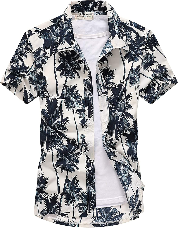Lu's Chic Men's Hawaiian Shirt Collared Shirts Button Down Short Sleeve Beach Aloha Tropical