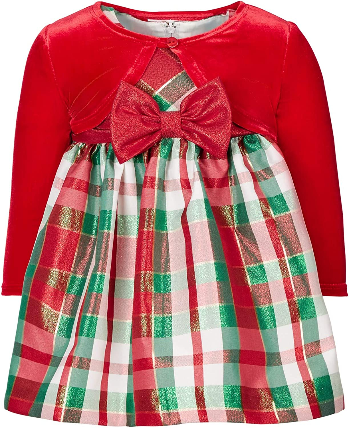 Bonnie Jean Baby Girl's Holiday Christmas Dress - Plaid with Red Velvet Cardigan (24 Months): Clothing, Shoes & Jewelry
