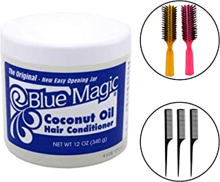 Blue Magic Coconut Oil Hair Conditioner 12 Oz (Including 3 Piece Rat Tail Styling Hair Comb Set & 2 pc Colorful Handle Nylon Bristles Brushes) Coconut Hair Oil Moisturizing & Styling Tools Kit