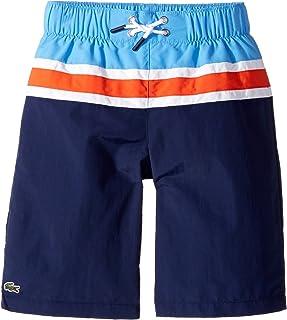 [ラコステ] Lacoste Kids ボーイズ Color Block Stripe Swimsuit (Little Kids/Big Kids) 水着 Penumbra/White/Salsa Red/Columbine 8 (Big Kids) [並行輸入品]