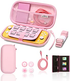 Switch lite Pink Accessories, Pink Carry Case with Coral Case for Switch lite, Pink Game Case Storage, Coral USB C Cord, P...