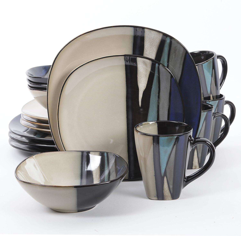 Gibson Elite Althea Reactive Dinnerware Set, 16 Pc, Teal