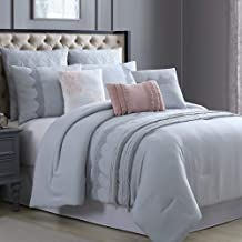 Amrapur Overseas Kinley 8-Piece Embroidered Comforter Set, King/California King, Grey