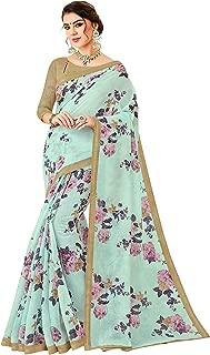 Jaanvi fashion Women's Pure Linen Digital Floral Printed Saree (linen-saree-737-a) Baby Blue