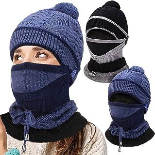 طقم إكسسوارات الشتاء للنساء من قطعتين قبعة محبوكة للشتاء، مجموعة أقنعة وقبعة ووشاح للنساء (أزرق داكن، أسود داكن)