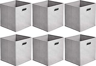 Amazon Basics Lot de 6 cubes de rangement pliables en tissu avec œillets ovales Gris clair