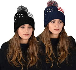 Peach Couture American Flag Pom Pom Hats Beanie Skullies Value Pack Of 2 (Navy Grey)