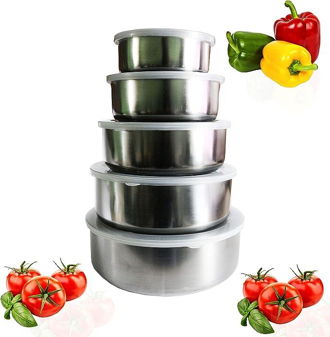 Fiambreras (5Pcs) - fiambreras acero inoxidable -Contenedores Apilables con Tapas - Fiambrera Portátil Comida para Almuerzo Escolar, Food, Rice ...