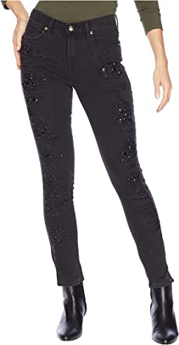 Denim Rip Repair Stone Embellished Skinny Jeans