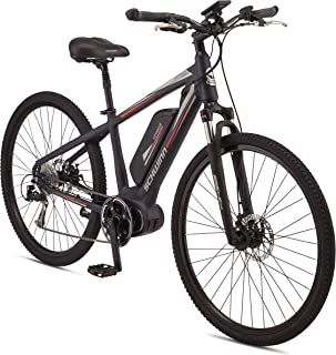 Schwinn Voyageur Electric Bike, Medium/42cm Aluminum Step-Over Frame, Shimano 8-Speed Drivetrain, 250-Watt Hub Drive Motor with Handlebar LCD Display, Mechanical Disc Brakes
