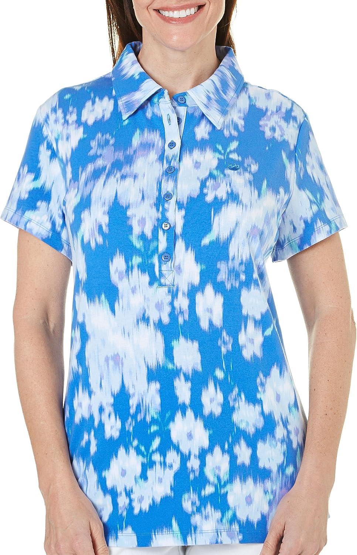 Gloria Vanderbilt Women's Petite Annie Ikat Polo Shirt, Blue Orchid
