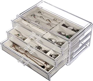 Cq acrylic Jewelry Box for Women with 3 Drawers, Velvet Jewelry Organizer for Earring Bangle Bracelet Necklace and Rings Storage Clear Acrylic Jewelry case,Beige