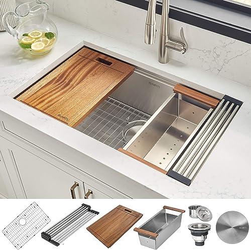 high quality Ruvati 30-inch Workstation Ledge online Undermount 16 Gauge Stainless Steel high quality Kitchen Sink Single Bowl - RVH8310 online