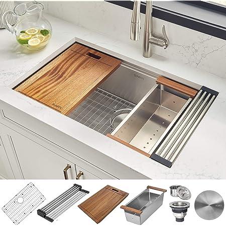 Ruvati 32 Inch Workstation Ledge Undermount 16 Gauge Stainless Steel Kitchen Sink Single Bowl Rvh8300