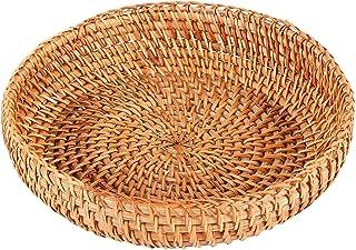 Nrpfell Handgjord höst rotting vävd rund förvaringskorg frukt fat rotting brödkorg för kök mat picknick bröd diverse behål...