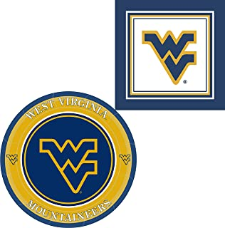West Virginia Mountaineers Napkins & Plates - 64 Pieces (Serves 32)