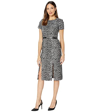 Calvin Klein Short Sleeve Animal Print Midi Dress w/ CK Logo Belt (Black/Cream) Women