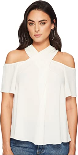 1.STATE Short Sleeve Cold Shoulder Cross Neck Blouse