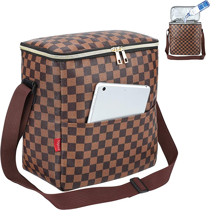 Lunch Bags For Women And Man Insulated Lunch Box Cooler Bag With Adjustable Shoulder Strap Water Resistant Thermal PU Soft Leather Lunch Shoulder Bag For Work Picnic Beach Hiking Checked Pattern