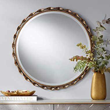 """Noble Park Ephrata Antique Gold 30"""" Round Pinched Framed Wall Mirror"""