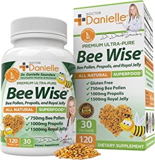 Sponsored Ad - Dr. Danielle's Bee Wise - Bee Pollen Supplement - Bee Well with Royal Jelly, Propolis, Beepollen in 4 Daily...