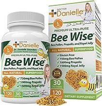 Dr. Danielle's Bee Wise - Bee Pollen Supplement - Bee Well with Royal Jelly, Propolis, Beepollen in 4 Daily Bee Pollen Cap...