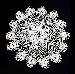 Fennco Styles Handmade Crochet Vintage Lace Doilies 3D Irish Rose Doilies - Round Lace Doilies for Home Décor, Banquest, Special Event and Wedding (White, 14 inch Rond, Set of 2)