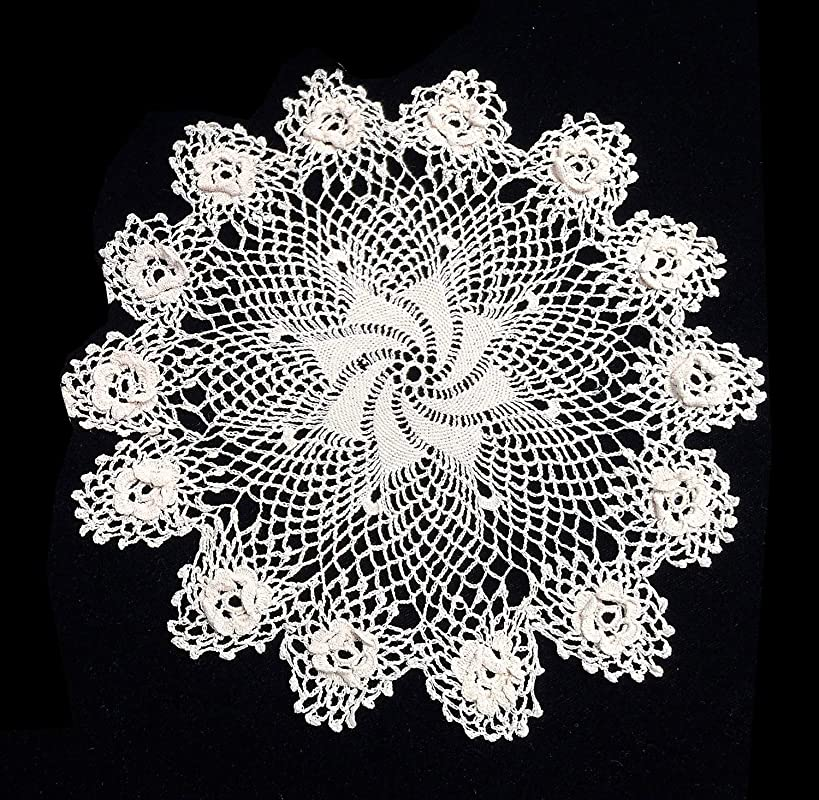 Fennco Styles Handmade Crochet Vintage Lace Doilies 3D Irish Rose Doilies Round Lace Doilies For Home D Cor Banquest Special Event And Wedding White 12 Inch Rond Set Of 2