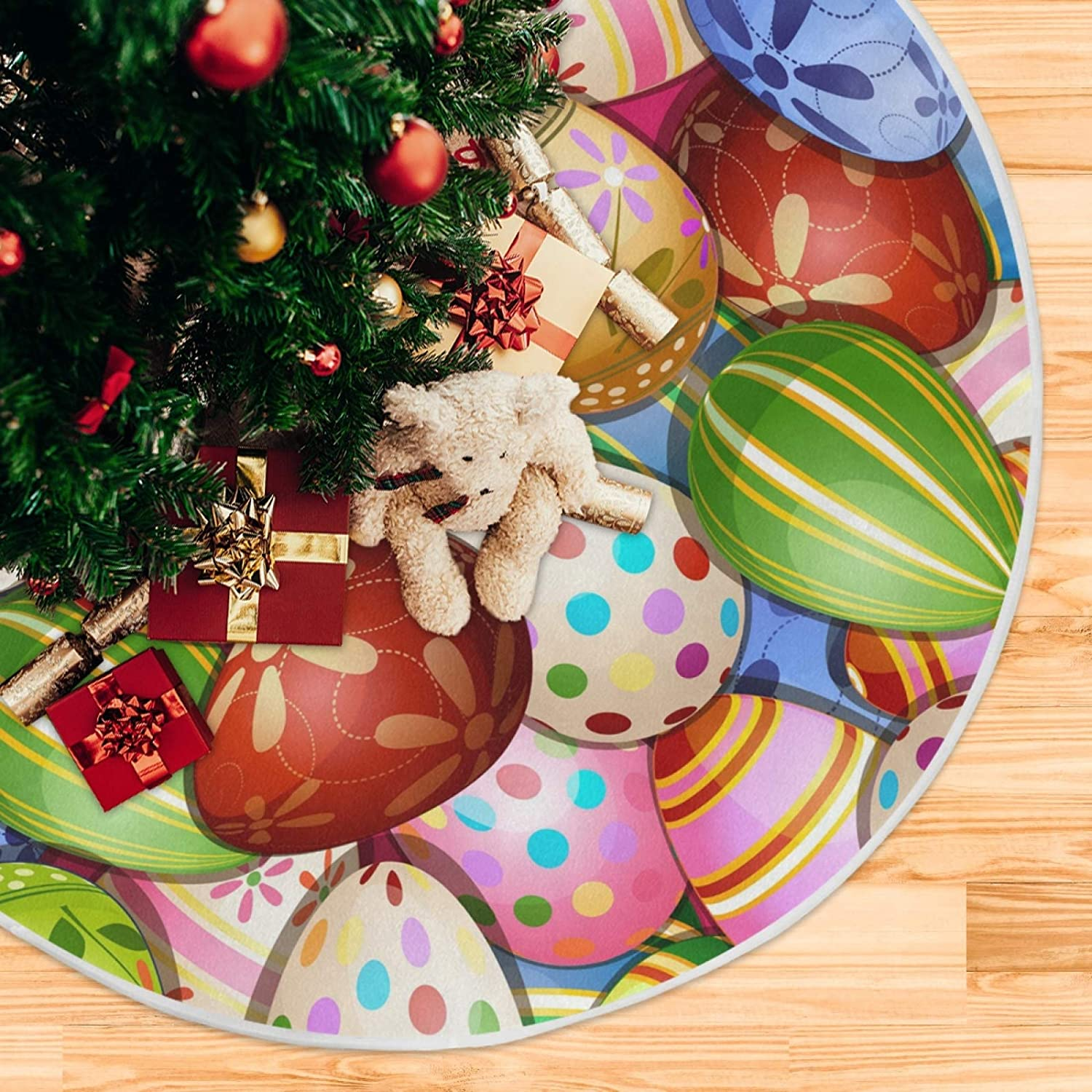 Qilmy Easter Colorful Eggs Tree Skirt Winter New Year House Decorative Supplies for Holiday Office Gift Tree Base Cover Mat Decorations 36inch