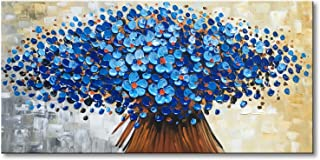 Large Hand Painted Textured Blue Oil Painting on Canvas Abstract Wall Art for Living Room