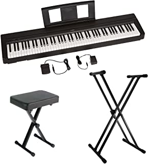 $489 Get Yamaha P45 88-Key Weighted Action Digital Piano with Sustain Pedal, Power Supply, Double-Braced X-Style Keyboard Stand, and Padded X-Style Piano Bench
