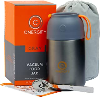 Energify Vacuum Insulated Food Jar - Stainless Steel Food Thermos with Folding Spoon, Soup Bowl,...