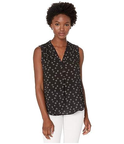 Vince Camuto Specialty Size Petite Sleeveless V-Neck Playful Foulard Blouse (Rich Black) Women