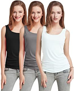 Fashion Line Cotton Lycra Tank Top for Girls/Women (Black, Grey & White, Pack of 3)