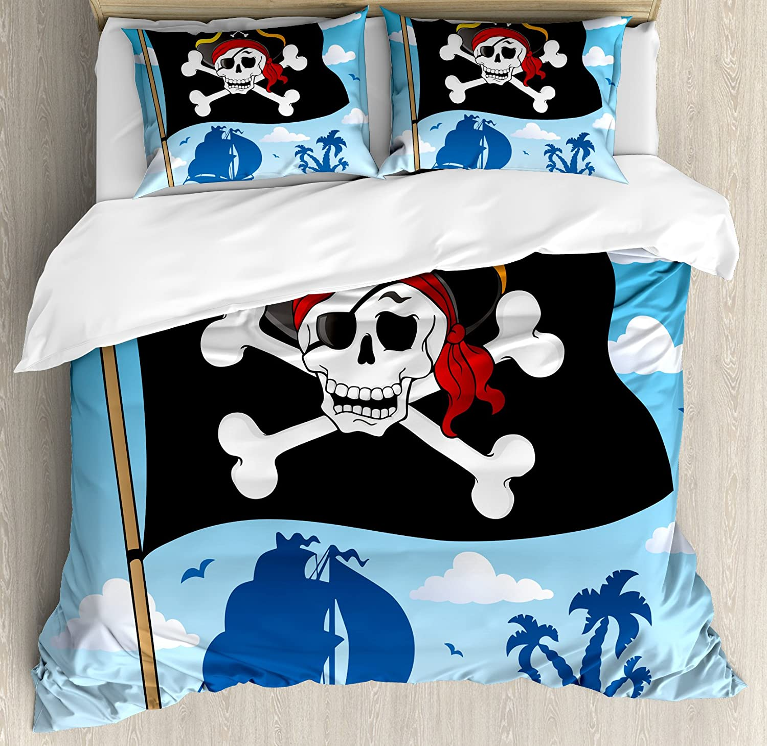Ambesonne Pirate Duvet Cover Set Danger Spring new work one Ranking TOP9 after another Beware Sign Pirates of