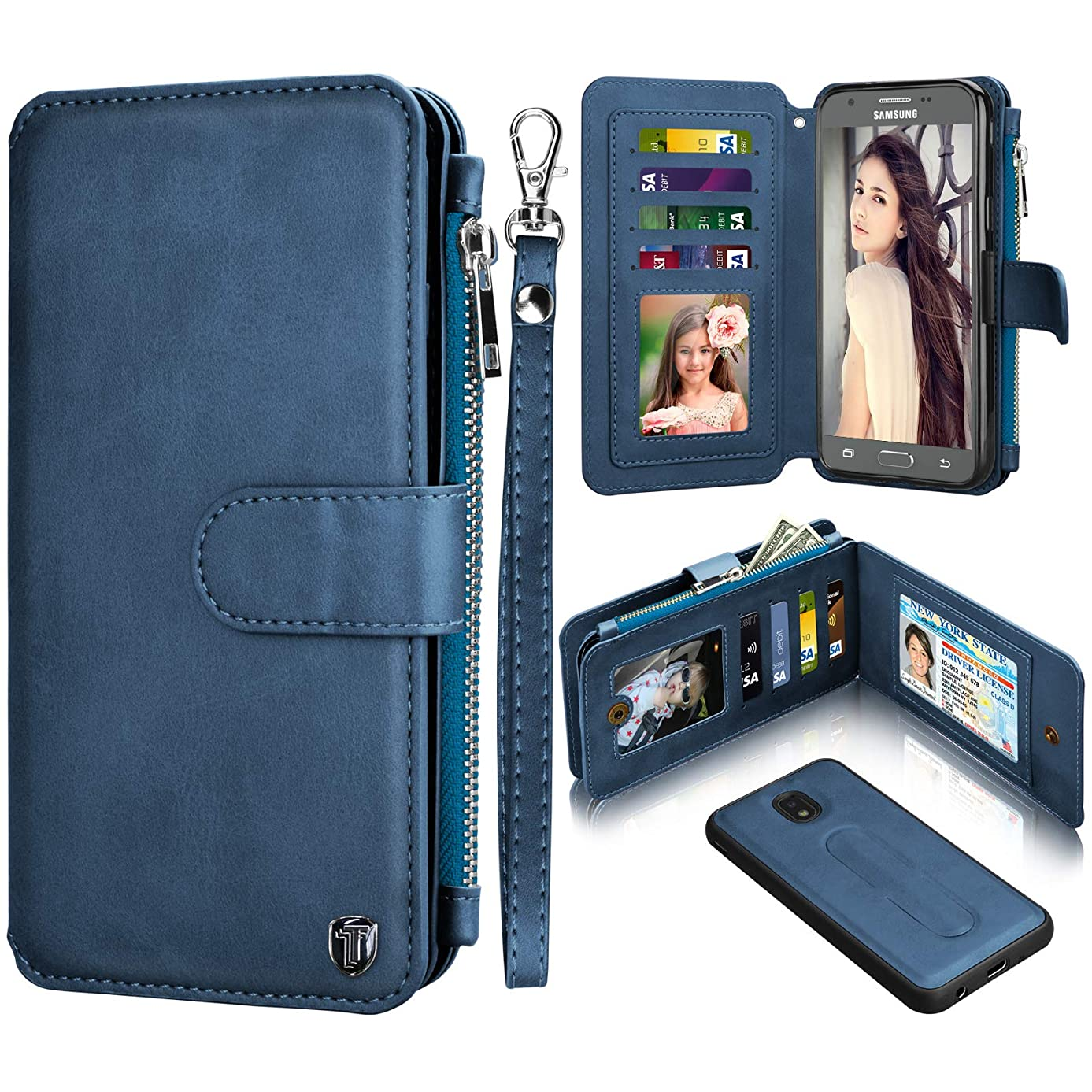 Njjex Wallet Case for Samsung Galaxy J7 2018, for Galaxy J7 Refine/J7 V 2nd Gen/J7 Aero/J7 Aura/J7 Top/J7 Crown/J7 Eon/J7 Star, PU Leather Card Slots Holder Zipper Purse Magnetic Flip Cover [Navy]