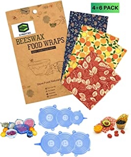 Reusable 4 Beeswax Food Wraps and 6 Silicone Stretch Lids, Sustainable, Plastic Free Alternative for Food Storage, Eco fri...