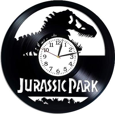 Kovides Jurassic World Room Art Lp Vinyl Retro Record Wall Clock Vintage Birthday Gift for Man Dinosaurs Gift Jurassic World Clock Movie Art Xmas Gift Idea