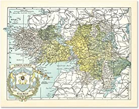 County Maps of Ireland Galway Antique Reproduction Print