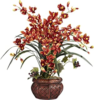 Nearly Natural 1245-BR 30in. Cymbidium with Decorative Vase Silk Arrangement