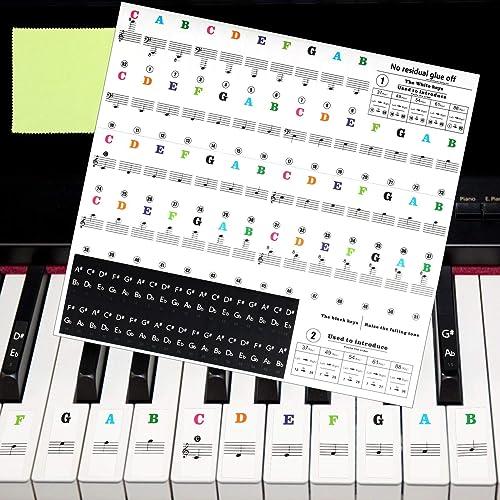 Matogle Autocollant Coloré pour Piano Sticker Auto-adhésif de Touches Noires et Blanches Note Transparent pour Enfant...