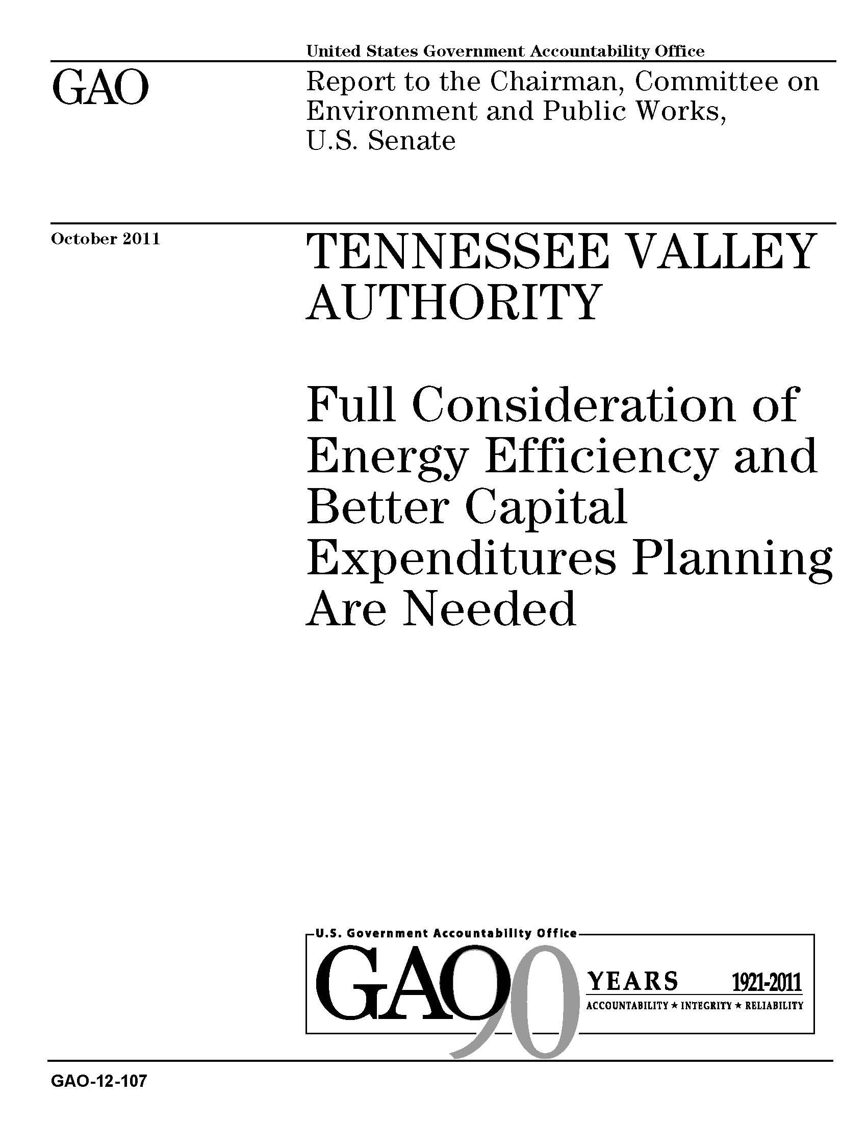 GAO Report on the Tennessee Valley Authority October 2011
