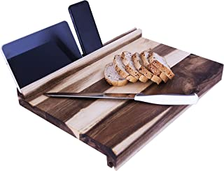Stunning Beautiful Acacia Real Wood Cutting Board with Ingenious L-Shaped Lips with Holders for Phone and Tablet. Generous Large 18.1 x 12.4 x 2.2 Inches