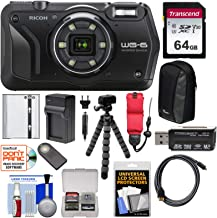 Ricoh WG-6 Waterproof/Shockproof Digital Camera (Black) with 64GB Card + Battery + Charger + Case + Tripod + Kit