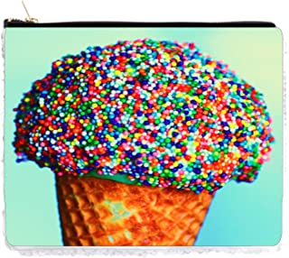 Pencil Case Ice Cream Sprinkle Cone Sequin Pencil Holder Pouch Gold/Silver