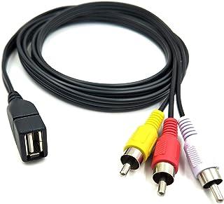 Duttek - Cable adaptador de vídeo A/V para TV, Mac/PC (USB 2.0 hembra a 3 RCA macho, 1,5 m)
