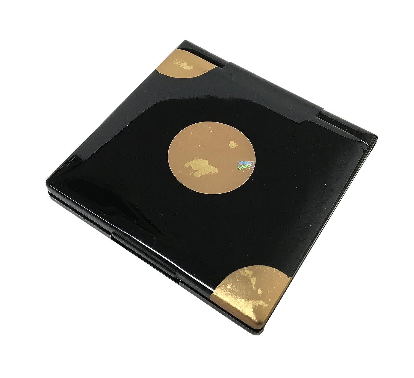 動スタンド交渉する中谷兄弟商会 山中漆器 コンパクトミラー 純金箔工芸 黒 星夜33-0403